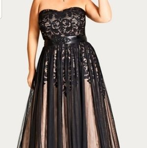 Strapless holiday party tulle overlay maxi dress